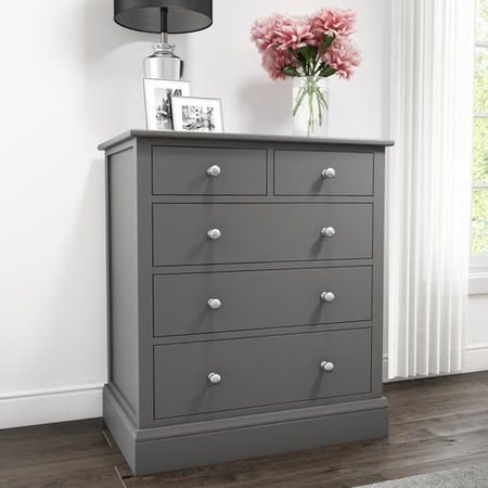 Harper Grey Solid Wood 2+3 Chest of Drawers   Furniture123