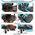 Homall Gaming Chair Ergonomic High-Back Racing Chair Pu Leather Bucket Seat,Computer Swivel Office Chair Headrest and Lumbar Support Executive Desk Chair with Footrest(Blue/Black) - BoughtAgain