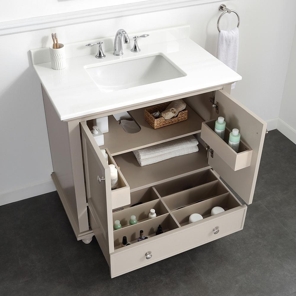 Home Decorators Collection Orillia 36 in. W x 22 in. D Vanity in Greige with Marble Vanity Top in White with White Sink-Orillia 36G – The Home Depot