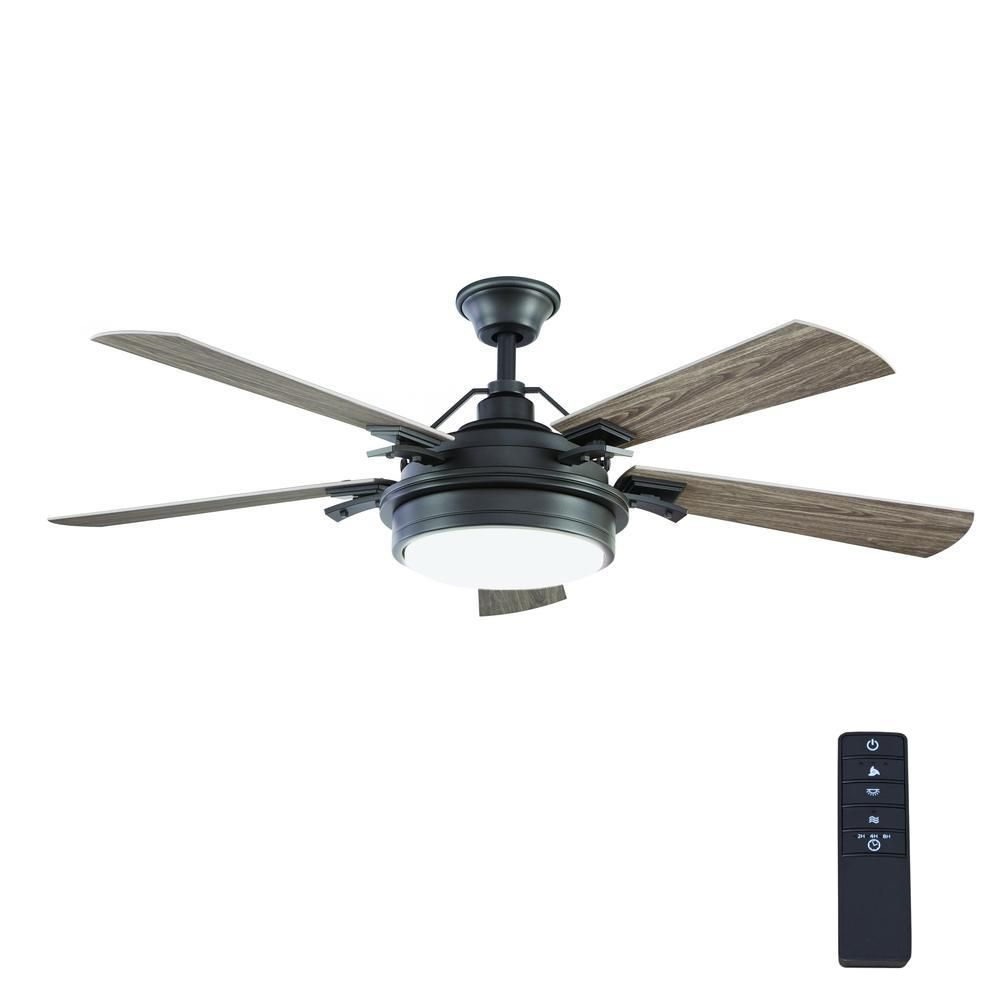 Home Decorators Collection Westerleigh 54 in. Integrated LED Indoor/Outdoor Natural Iron Ceiling Fan with Light Kit and Remote Control-YG617-NI – The Home Depot