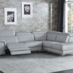 Homelegance HE-8256GY 2 pc Cinque gray top grain leather sectional sofa with power reclining foot rest and chaise