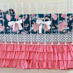 Hot Pink and Navy Baby Girl Bedding, custom crib bedding, navy and pink floral baby bedding, Navy white pink modern nursery  by lottiedababy
