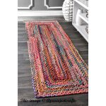 Indian Handmade Braided Colourful Cotton Chindi Area Runner Rug Home Decor Bohemian Decor Floor Area Rug Meditation Mat Rug Runner 2.6x8'