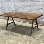 Industrial Dining Table/Bench With A Shape Frame 6-10 Seater Chic Wood Tudor Oak...