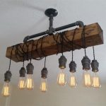 Industrial Rustic 8-Light Wood Beam Plumbing Pipe Hanging Exposed Bulb Metal Island Pendant Light