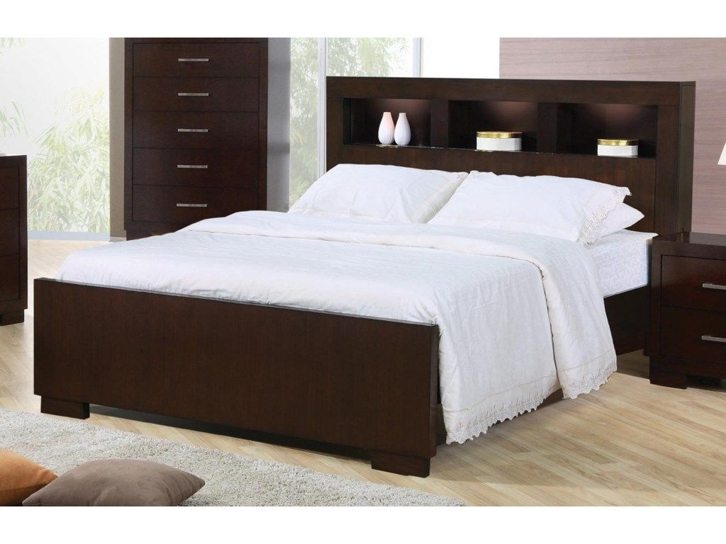 Jessica Queen Contemporary Bed with Storage Headboard and Built in Lighting by Coaster at Rotmans