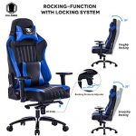 KILLABEE Big and Tall 400lb Memory Foam Gaming Chair - Adjustable Tilt, Back Angle and 3D Arms Ergonomic High-Back Leather Racing Executive Computer Desk Office Chair Metal Base, Blue - BoughtAgain