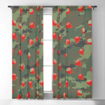 Kawaii Strawberry Camo WOODLAND Blackout Curtain by grandeduc
