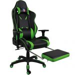 Kinsal Ergonomic High-back Large Size Gaming Chair, Office Desk Chair Swivel Green PC Gaming Chair with Extra Soft Headrest, Massage Lumbar Support and Retractible Footrest (Green) For Sale