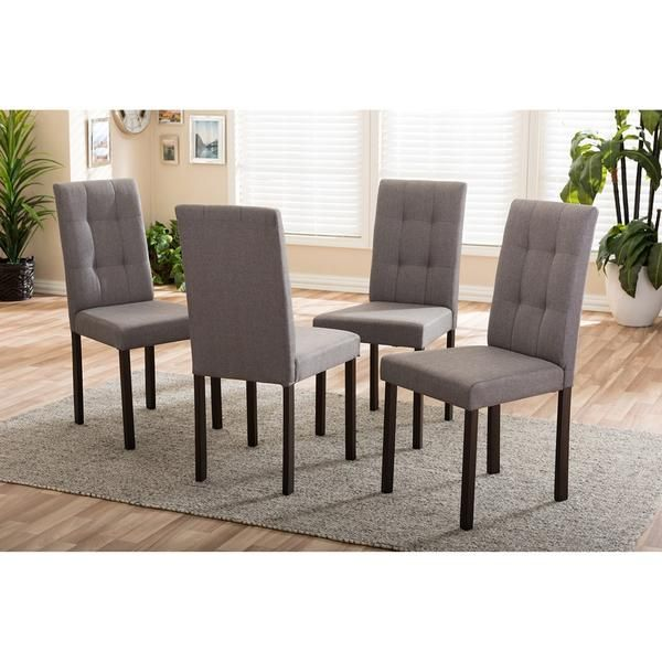 Kirk Grey Fabric Modern And Contemporary Tufted Dining Chair Set of 4