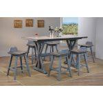 "Kris 7-Piece Counter Height Dining Set, Distressed Gray & Washed Blue Wood, Farmhouse, 72"" Rectangular, (Table & 6 Swivel Bar Stools) - Walmart.com"