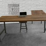 L shaped desk made with reclaimed top and steel legs