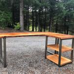 L shaped desk with shelves. Industrial desk. Reclaimed wood desk. Corner desk. Modern desk. Salvaged wood desk. Office desk. Executive desk.