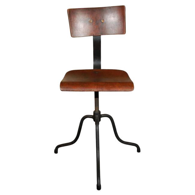Late 19th Century French Wood and Iron Base Swivel Desk Chairs
