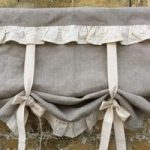 Linen Curtains Ruffled Country Kitchen Tie Up Valance Rustic Natural Flax Linen Window French Country Farmhouse Living Room Ruffle Blind