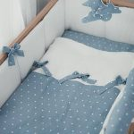 Linen crib bumpers – white cot bumper – all around cot bumper with blue laces - natural baby bedding - lin Lit bébé choc