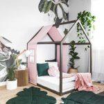 Lit pour enfants de taille jumelle des USA avec le couvert et les rails roses de lin pastel, lit de maison, lit d'enfant en tout-petits, lit de bébé en bois, cadre de lit de maison de jeu, lit de plancher