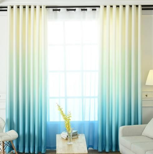 Living Room Aqua Turquoise Blue Ombre Curtains Two Tone Blackout