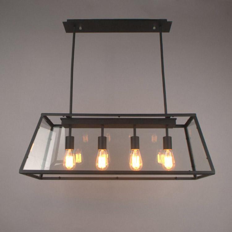 Loft Pendant Lamp Retro American Industrial Black Iron Rectangular Chandelier Living Room Dining Room Office Light Fixture Globe Pendant Light Light Pendants From Cherry5168, $239.7| DHgate.Com