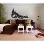 Loon Peak Bernal Log Cabin and Pine Trees Vinyl Graphic Wall Decal | Wayfair