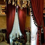 Luxury Curtain for Living Room Blackout Velvet 2 Panels Curtains Set (Burgundy)