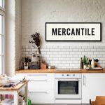 MERCANTILE Sign, Personalized Kitchen Art, Farmhouse Decor, Large Canvas Art, Kitchen Sign, Vintage Home Decor, Subway Art, Advertising Sign