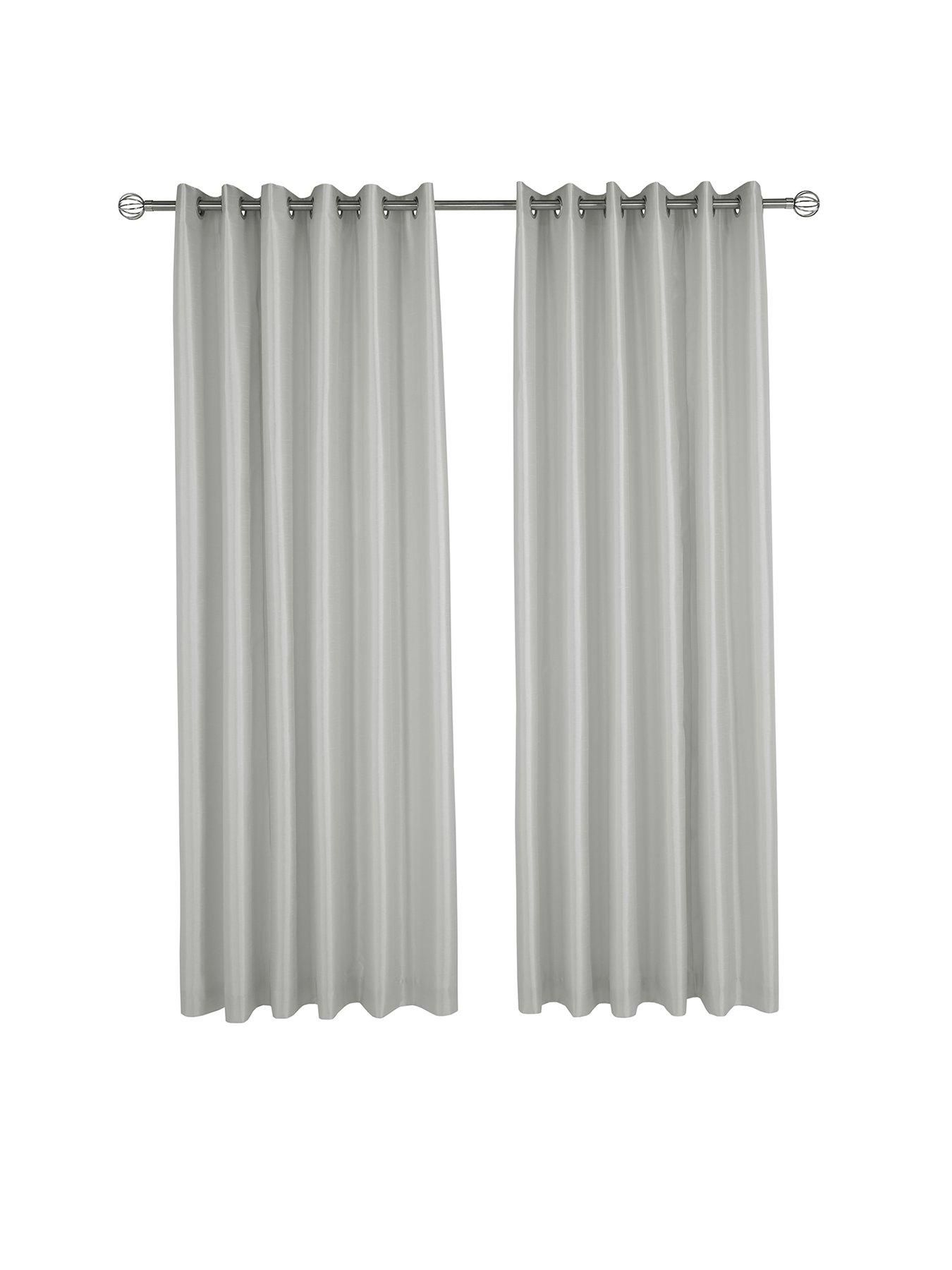 Made to Measure Faux Silk Eyelet Curtains – Silver