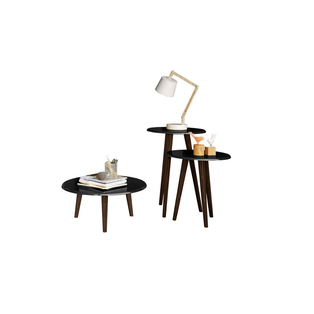 Manhattan Comfort Carmine Mid Century Modern Black End Tables with Solid Wood Splayed Legs (Set of 3) 206AMC95 – The Home Depot