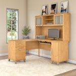 Maple L Shaped Computer Desk with Hutch - Somerset