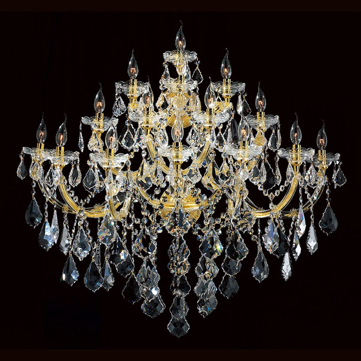Maria Theresa 15-light Gold Finish Large and Crystal Candle 4-tier 40-inch Wide Extra Large Wall Sconce | Overstock.com Shopping – The Best Deals on Sconces
