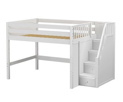 Maxtrix HIT Mid Loft Bed with Stairs   Bed Frames   Matrix Furniture