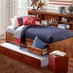 Merlot Twin Size Bookcase Captain's Day Bed with Trundle   Day Beds   Discovery World