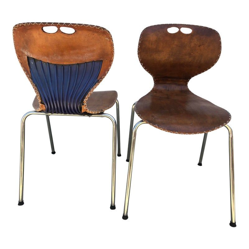 Mid-Century Modern Leather Dining Chairs- a Pair