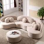 Modern 7-Seat Modular Sofa Round Sectional Sofa Beige Velvet Upholstered Modular Sofa with Ottoman & Pillows