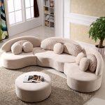 Modern 7-Seat Modular Sofa Round Sectional Sofa Beige Velvet Upholstered Modular Sofa with Ottoman & Pillows