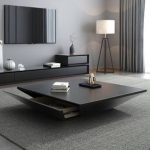 Modern Black / Wood Coffee Table with Storage Square Drum Coffee Table with Drawer