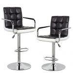 Modern Contemporary Leather Swivel Adjustable Counter Height Bar Stools with Backs and Arms Set of 2 Black White For Sale