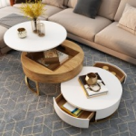 Modern Round Coffee Table with Storage Lift-Top Wood Coffee Table with Rotatable Drawers in White&Natural/White & Black/Marble&White