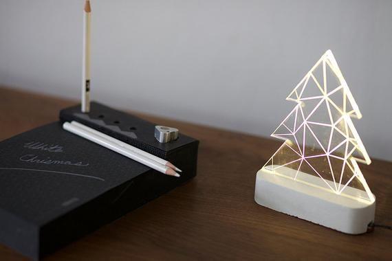 Modern christmas tree lamp, concrete table lamp, concrete night light, Christmas decorative lamp
