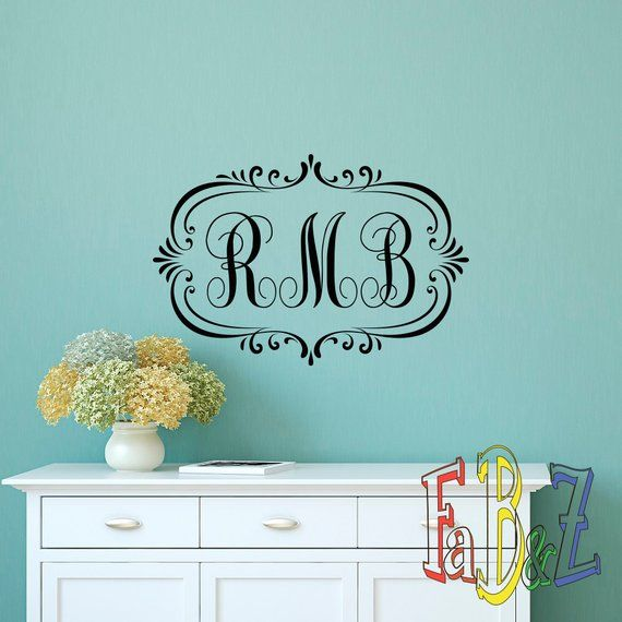 Monogram Wall Decal- Family Monogram Wall Decal- Personalized Initials Letters Name Wall Decals Living Room Bedroom Wall Art Home Decor M016
