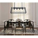Morley Glass Linear Chandelier, 4-Light Industrial Island Pendant Lighting with Matte Black Frame for Dining Room, Kitchen by Lanros – Industrial Lighting Fixtures & Decor