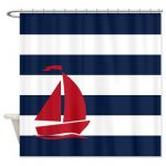Nautical Shower Curtain-Navy Blue and White Stripes-Brick Red Sailboat-Customize colors-Standard & Extra long sizes available-Preppy Bath