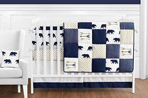 Navy Blue, Gold, and White Patchwork Big Bear Boy Baby Crib Bedding Set with Bumper by Sweet Jojo Designs – 9 Pieces