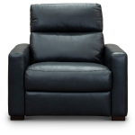 Navy Blue Leather-Match Power Recliner Chair and a Half - Angler