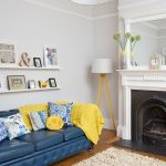 Neutral living room with blue sofa   Decorating   Ideal Home
