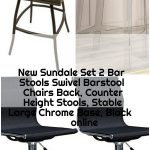 New Sundale Set 2 Bar Stools Swivel Barstool Chairs Back, Counter Height Stools, Stable Large...