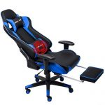 Nokaxus Gaming Chair Large Size High-Back Ergonomic Racing Seat with Massager Lumbar Support and Retractible Footrest PU Leather 90-180 Degree Adjustment of backrest Thickening sponges (YK-6008-BLUE) - BoughtAgain
