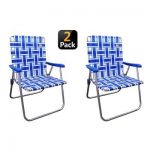 OUTDOOR SPECTATOR Blue/White Reinforced Aluminum Classic Webbed Folding Lawn/Camp Chair (2-Pack)-886783005100 - The Home Depot
