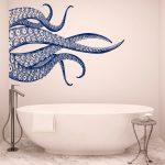 Octopus Tentacles Wall Decal Waterproof Bathroom Decor - Sea Animals Kraken Wall Decal Nautical Decor Ideas for Bedroom Bathroom & More 062