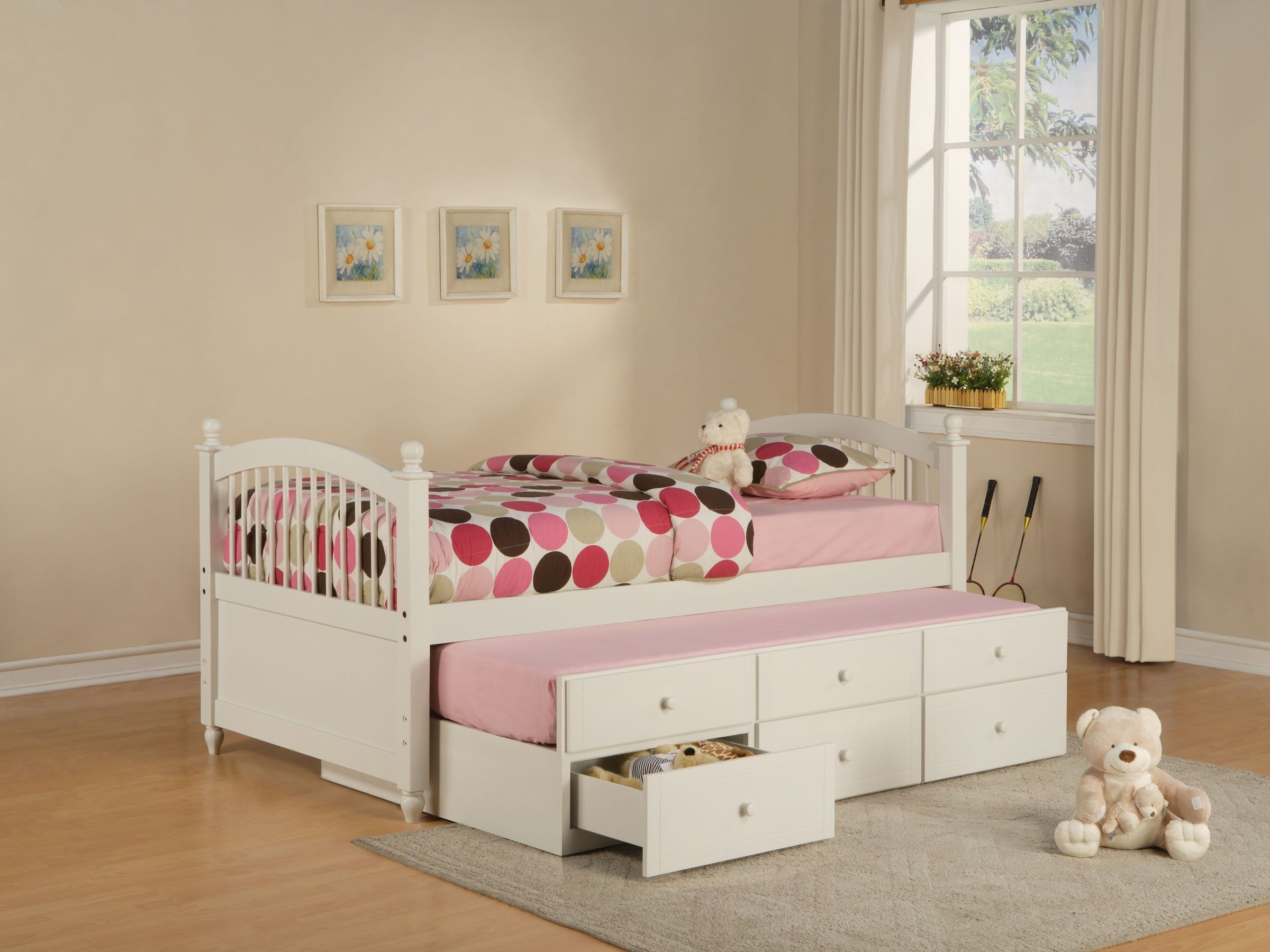 One Honey Twin/Full Staircase Bunk Bed and One Honey Five Drawer Chest